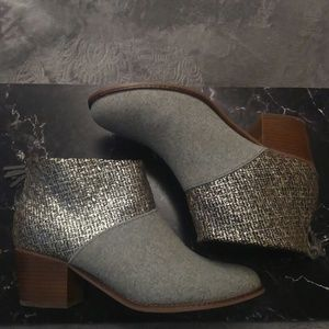 Toms Booties Gray Blue Silver Brown